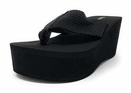 Wild Diva Womens Heat High Platform Wedge Flip Flop Sandals (8|Black) - $40.10