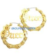 Queen Bamboo Hoop New Pincatch Light Weight Earrings - $12.89