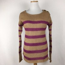 LOFT Ann Taylor Brown & Pink Striped Warm Longsleeve Scoopneck Sweater Size XS - $17.91