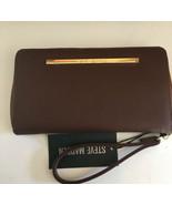 STEVE MADDEN WALLET Brown Soft Textured Gold Zip Around Wrist-let Ships ... - $37.99