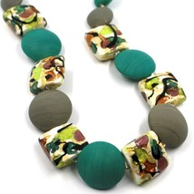 NECKLACE GREEN GREY SQUARE & DISC, MURANO GLASS, GOLD LEAF, MADE IN ITALY image 2