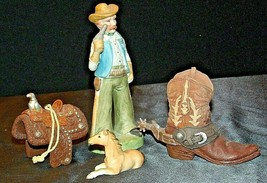 Cowboy Figurine with a Saddle, Cowboy Boot and a Colt figurines AA20-2078 Vintag image 2