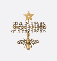 AUTHENTIC Christian Dior J'ADIOR CRYSTAL LOGO STAR WASP AGED GOLD BROOCH PIN