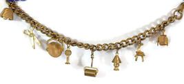 Vintage Charm Bracelet Brass Lamp Bell Chair Scissors Stop Sign Wheel Ba... - $39.70