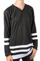 Dope Couture Hombre Básico Blanco y Negro Manga Larga Hockey Jersey Nwt