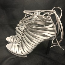 BCBG MAXAZRIA SHOES  High Heel gray satin straps Size: 9/39 - $28.04