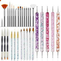 Nail Art Brush Tool Gel Acrylic Paint Drawing Dotting Pens Builder Flat ... - $18.99