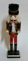 NUTCRACKER DRUMMER WEARING PLAID JACKET w/ GOLD GLITTER CHRISTMAS DECORA... - $16.88