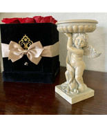 "Angel Cherub Nouveau Pillar Candle Holder 6 3/4"" Tall - $18.70"
