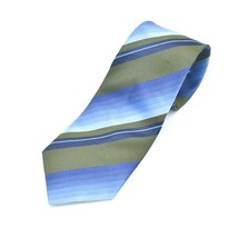 Kenneth Cole Blue Green Diagonal Stripes Silk Tie Necktie - $9.89