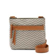 Fossil Corey Neutral Stripe Cotton/Leather Trim Zipper Closure Crossbody - $299.99