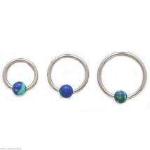 "Captive Lip Ear Daith Ring 16 Gauge 5/16"" w/Stone Blue Lapis 4mm Steel Body J - $6.99"