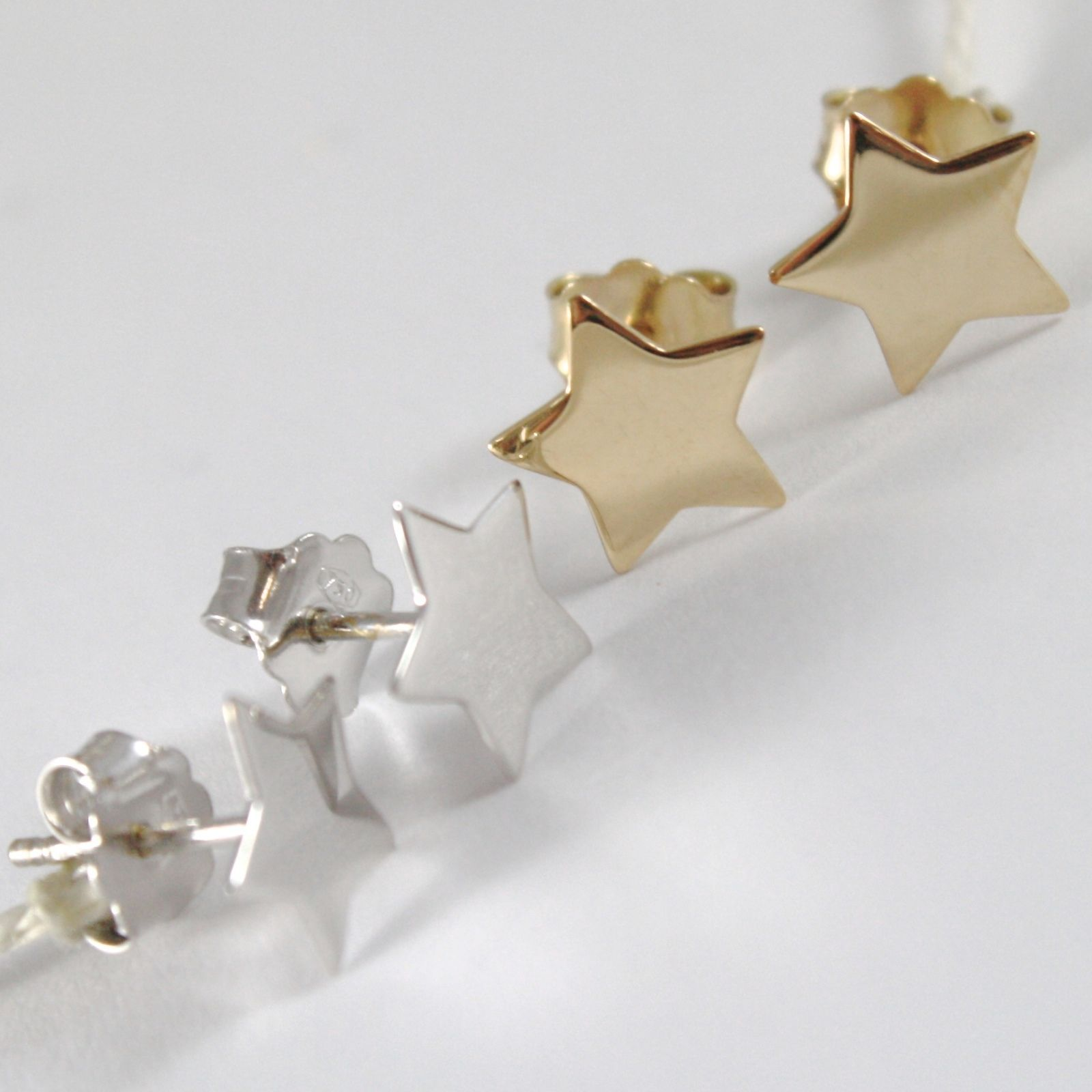 YELLOW GOLD EARRINGS 0,5 WHITE 750 18K, STELLA, STARS FLAT, LENGTH 0.9 CM