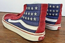 Vans sk8 Hi-Top Lace-up Shoes Red Suede White & Blue Rivet Stars M 5.5 W... - £40.08 GBP