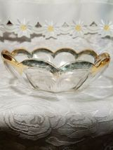 Heisey Glass Colonial Panel Pattern Round Bowl Dish Clear Gold Edge Star Diamond image 6