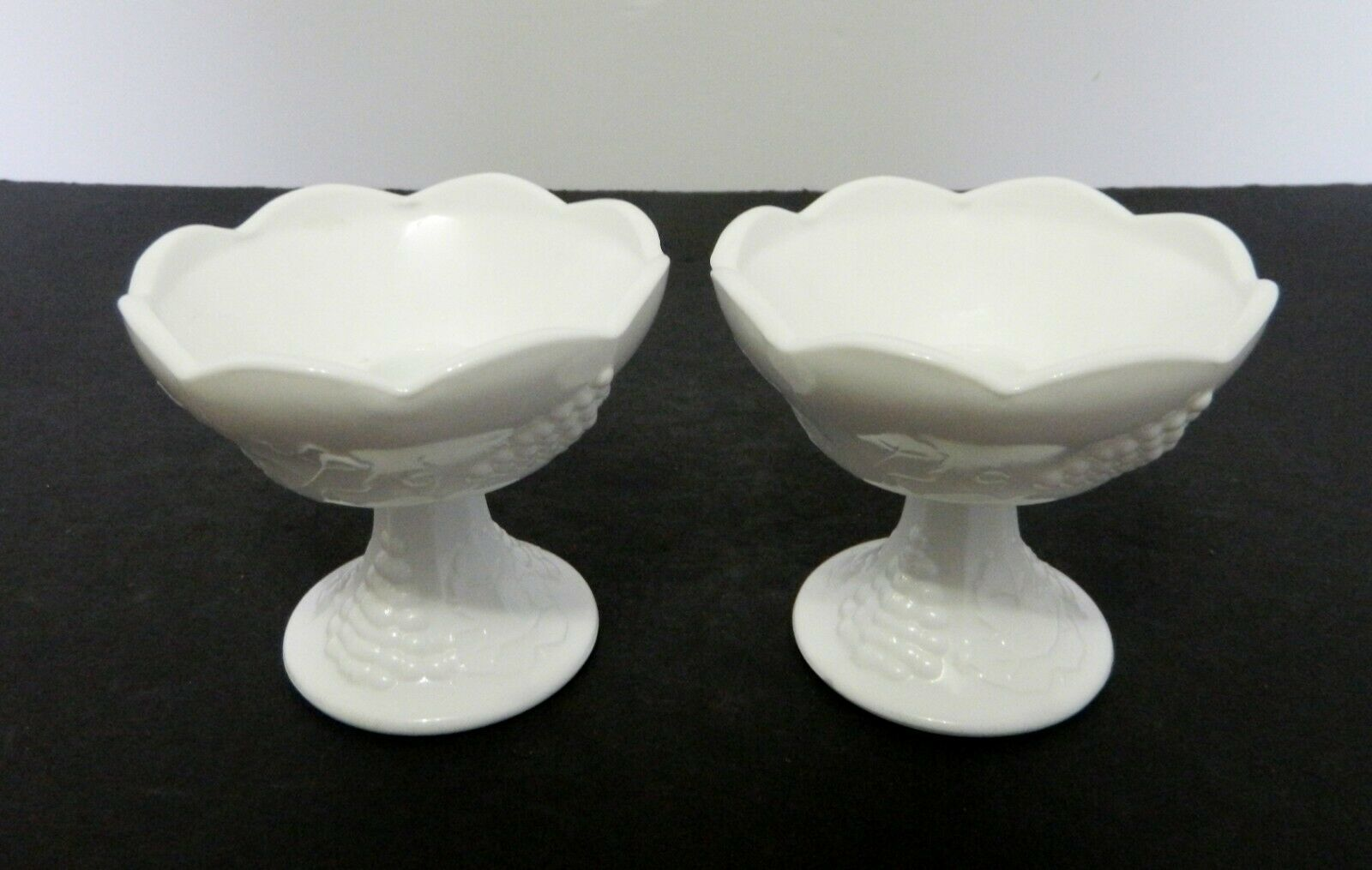 Primary image for Indiana Glass Harvest Grape Milk Glass Candle Holders Lot of Two Taper