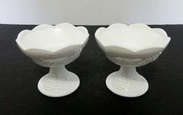 Indiana Glass Harvest Grape Milk Glass Candle Holders Lot of Two Taper - $19.68