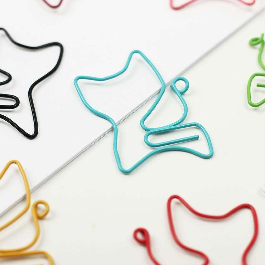 New 24PCS/lot Kawaii Cat Shape Metal Bookmark Clip Memo Clip Paper Clip Bookmark