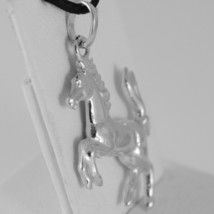 18K WHITE GOLD ROUNDED HORSE PENDANT CHARM 32 MM SMOOTH BRIGHT MADE IN ITALY image 2