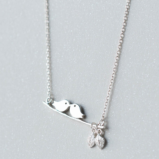 Art partysu leaf kiss birds 925 chain sterling silver pendant necklace