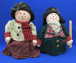 Pair Mr & Mrs Snowman Plush Weighted Decorative Free Standing Figures Fo... - $25.38