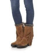 SAM EDELMAN Sale Tilden Fringe Boots Bootie Brown Suede Leather Snakeski... - $60.07