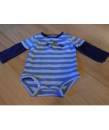 Size 9 Months Carter's Blue Striped Long Sleeve One-Piece Top Western Co... - $8.00