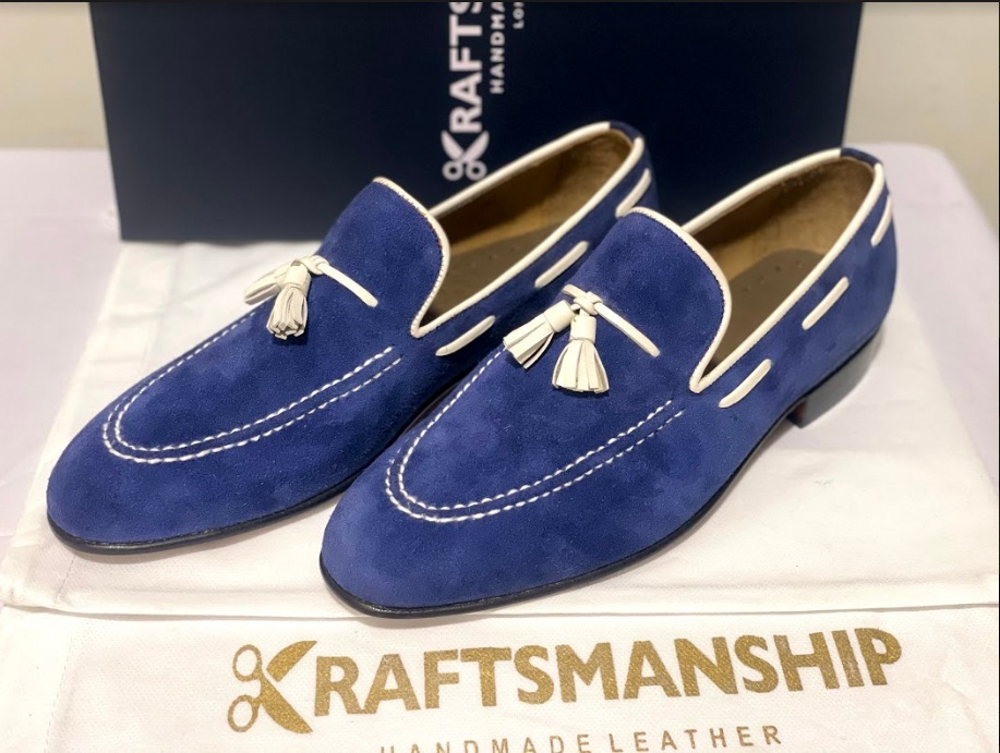 Handmade Men's Blue Suede Slip Ons Loafer Dress/Formal Shoes