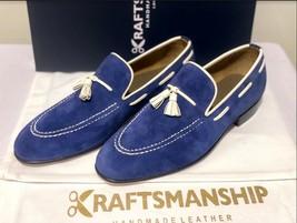 Handmade Men's Blue Suede Slip Ons Loafer Dress/Formal Shoes image 1