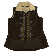 Athleta Vest Womens Sz M Sherpa Faux Suede Embroidery Brown - $26.13