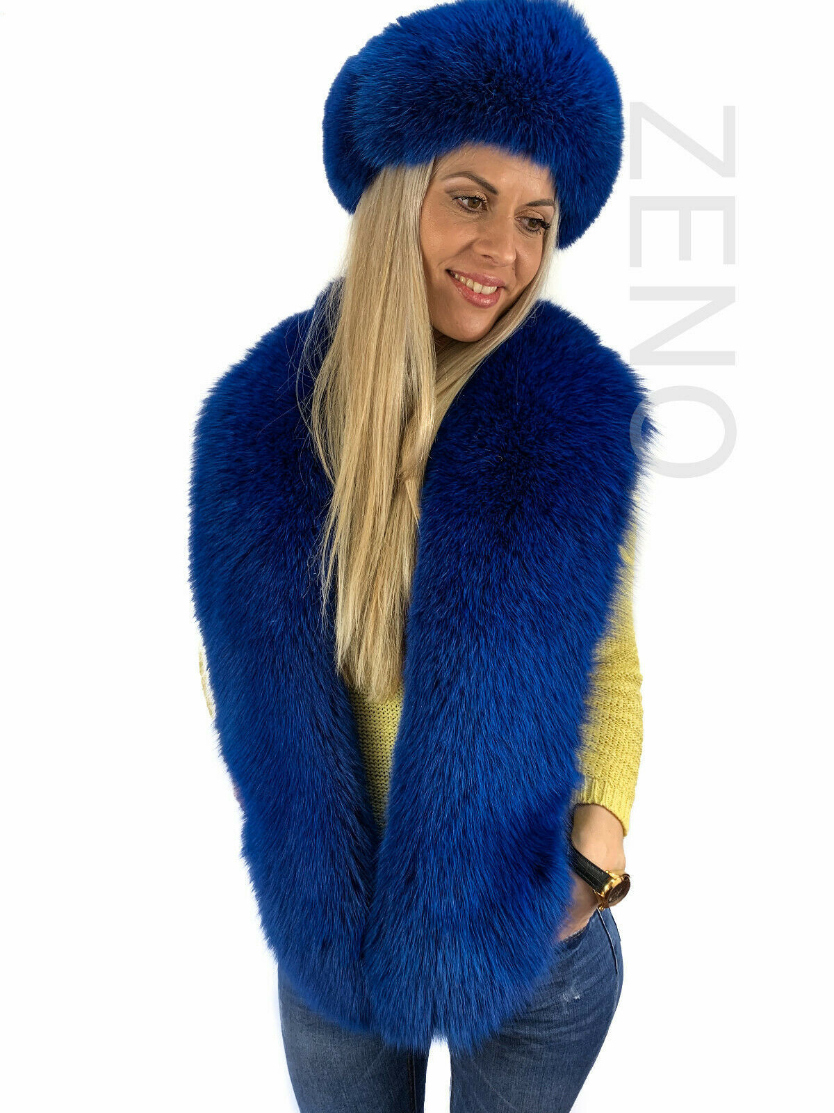 Saga blue fox fur double side stole and mittens