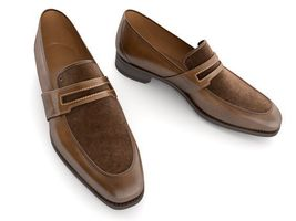Handmade Men's Two Tone Leather Suede Slip Ons Loafer Shoes image 3