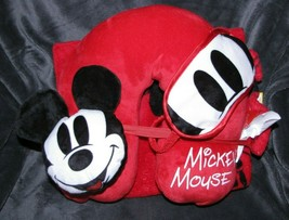 NEW DISNEY MICKEY MOUSE TRAVEL SET KIT BLANKET EYE MASK NECK PILLOW VACA... - $47.02