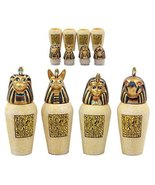 Ebros Gift Ancient Egyptian Four Sons of Horus Canopic Jars Imsety Duamu... - $26.13