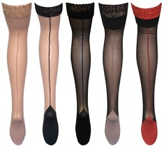 Womens Sexy Black Lace Top Colored Cuban Heel Thigh High Nylon Seamed St... - $7.99