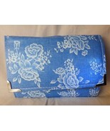 Vintage 1990's WALLET White Roses on Light Blue Oilcloth Oilskin Fabric - $10.00