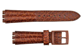 Swatch Replacement 18mm men's Padded Leather Watch Band Strap Brown - $14.95