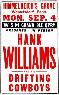 Primary image for Hank Williams and His Drifting Cowboys - Womelsdorf PA - 1950 - Concert Poster