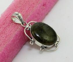 12 gr Shiny Labradorite Silver Overlay Handmade Pendant Jewelry -P-129-12_71 - $4.32