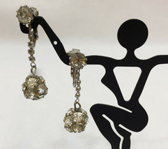 Clip On Earrings Dangling Ball Rhinestones Silver Tone Metal Pair Vintag... - $9.85