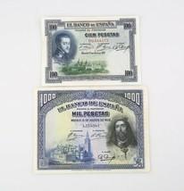 1925-1928 España 100 1000 Pesetas Notas Lote MB Banco de España Muy Fino... - $84.32