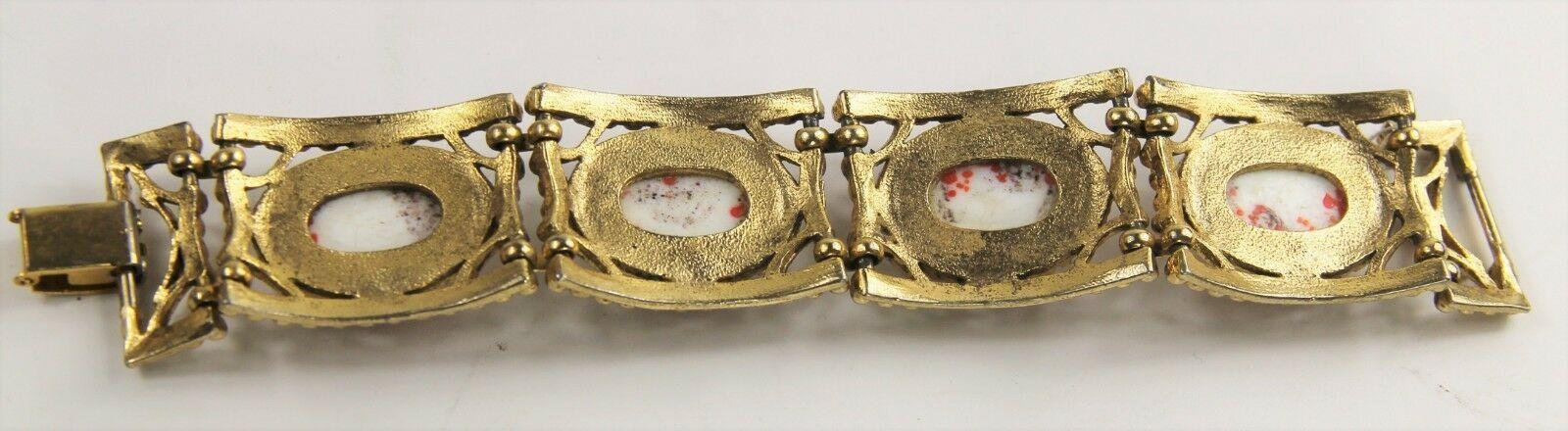 "7"" VINTAGE Jewelry 70's CHUNKY ORANGE SPECKLED GLASS CABOCHON BRACELET RETRO"