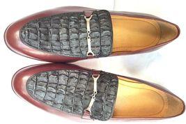Black Maroon Men Exotic Crocodile Horn-Back Leather Shoes Moccasin Handmade US 8 - $199.99