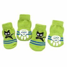 PANDA SUPERSTORE 4 Pcs Green Cats Knitted Dogs Socks Cat Socks Cute Pet Socks Do