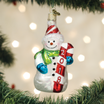 Old World Christmas 2018 Snowman Frosty Glass Christmas Ornament 24183 - $11.88