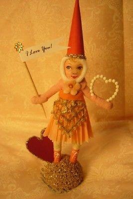 Vintage Inspired Spun Cotton Valentine  Heart Girl