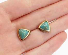BARSE 925 Sterling Silver - Vintage Turquoise Gold Plated Stud Earrings ... - $31.89