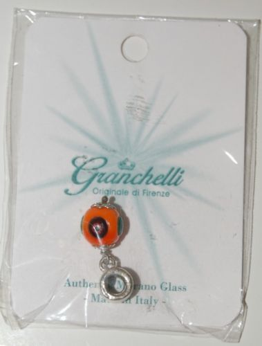 Granchelli Originale Di Firenze Authentic Murano Glass Orange Multi Color Charm