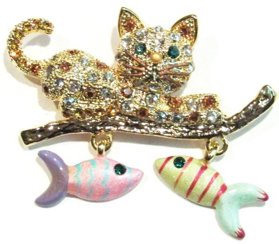 Primary image for Cat Pin Brooch Dangling Fish Charms Crystal Gold Tone Metal