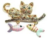 Cat Pin Brooch Dangling Fish Charms Crystal Gold Tone Metal